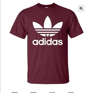 Adidas trefoil burgundy shirt Large